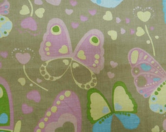 "Indian Cotton Fabric, Multicolor Butterfly Print Fabric, Dress Material, Home Decor Fabric, 46"" Inch  Cotton Fabric By The Yard ZBC6861A"