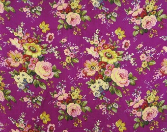 """Indian Cotton Fabric, Magenta Fabric, Floral Print, Home Accessories, Sewing Fabric, 46"""" Inch Fabric By The Yard ZBC7494A"""