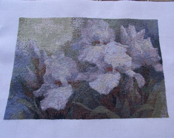 SALE! 35% OFF Finished completed Cross stitch Incredibly beautiful handmade embroidered  picture  handmade Gift  Landscape Flowers Irises