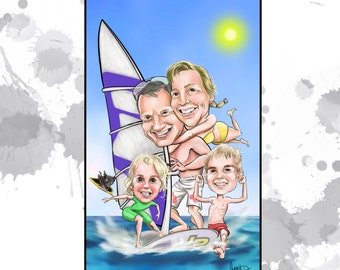 Custom caricature or portrait - Family of 4 - great, custom artwork for Mum or someone special!