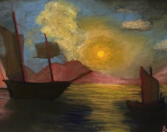 Soft pastel painting in impressionistic style after Aivazovsky
