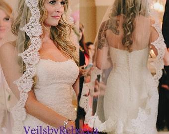 1 Tier Fingertip Mantilla Veilfingertip Lace Catholic VeilChantilly Spanish Veil