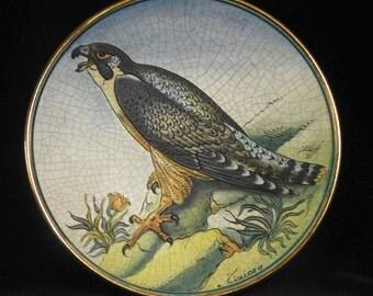 Tiziano Italian peregrine falcon plate, 1973, by Veneto Flair