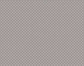 White on Gray Swiss Dots by Riley Blake Designs - Polka Dot - Quilting Cotton Fabric - by the yard fat quarter half