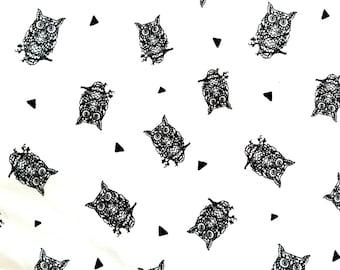 Monochrome Owls Black and White Cotton Lycra Jersey Knit Fabric