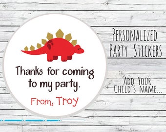 Personalized Dinosaur Stickers Party Favor Labels, First Birthday, Birthday Party, Baby Shower, Gift Tag, Choice of Size