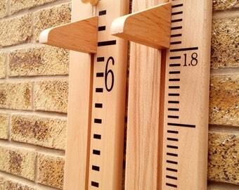 Handmade Wooden Growth / Height Chart, Solid Beech. Ideal Christening Gift