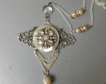 Vintage Assemblage, Downton Necklace, Upcycled Vintage, Pearl Necklace, Statement Necklace, Rhinestone Necklace, Elegant Necklace, Wedding