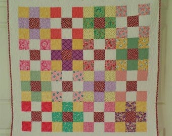 Traditional Baby Quilt, Baby Boy or Girl Quilt, Handmade Patchwork Quilt, Thirties Crib Quilt, Nine Patch Rainbow Baby Bedding