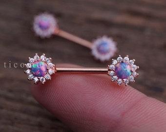 Nipple ring Nipple piercing Nipple jewelry Nipple Barbell Purple Fire Opal Zircon Flower Rose Gold #1N01P