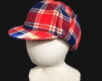 "Vintage 70's Blue/Red Plaid ""Sherlock"" Cap New old British Stock  18M - 3Y"
