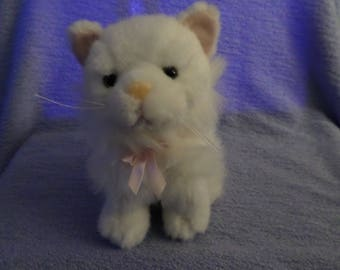 "Zainy Brainy Cat white plush Yellow eyes pink nose 7"" vintage"