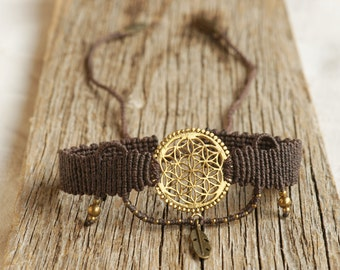 brown macrame choker with golden flower of life and feather, boho, leaf of life