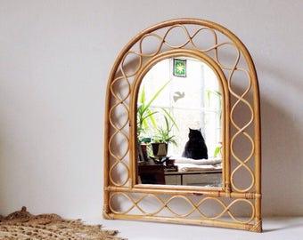 1970's bamboo mirror, bohemian arch shaped vintage bamboo mirror