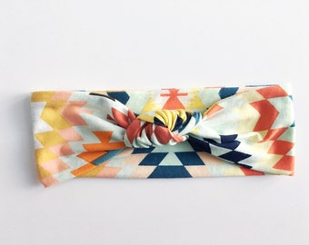 Geometric Top Knot Headband / Knotted Headband / Baby Turban / Baby Gift / Toddler Headband / Macie and Me / Adult Headband