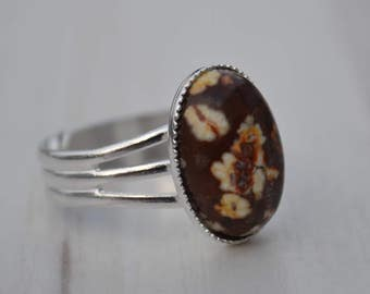 Jasper ring, Adjustable size ring, Silver plated ring, Oval cabochon ring, Leopard jasper ring, Ring with jasper, Jasper cabochon ring.