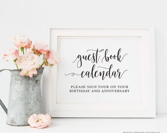 Guest Book Calendar Sign Printable, Guestbook Calendar Sign, Sign Your Name On Your Birthday, Wedding Guest book sign, Sign Our Guest Book,