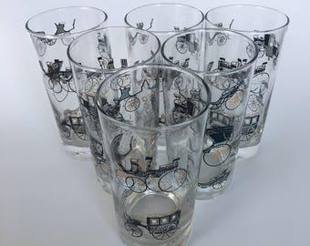 "Vintage Six Piece Libbey ""Curio"" Drinking Glasses / Barware"