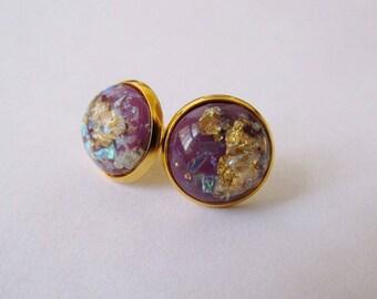 Gold Leaf Earrings - Plum Series