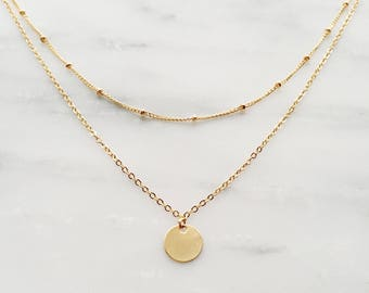 Gold Layered Necklace / Coin Necklace / Satellite Chain Necklace / Dainty Bohemian Necklace / Bridesmaid Necklace