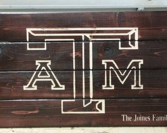 Carved Personalized Texas A&M Aggie wooden sign outdoor or indoor