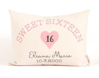 Sweet Sixteen Pillow, 16th Birthday Gift, Girls Birthday Gift, Teen Birthday Gift, Sweet Sixteen Birthday