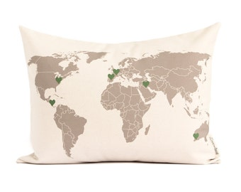 World Map Pillow, Gift for Him, Gift for Traveler, Housewarming, Cotton Anniversary, 2nd Anniversary, Locations Pillow, Throw Pillows