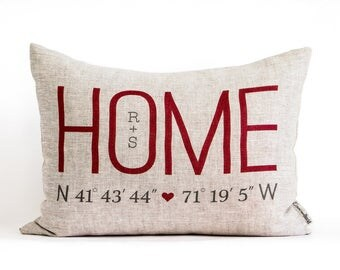 Personalized Home Coordinates Pillow, Housewarming Gift, Just Moved, New Home, Anniversary Gift, Gift for Mom, Realtor Closing Gift