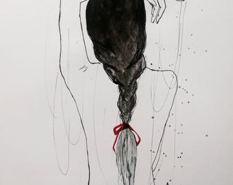 Ink  Drawing  , Girl drawing ,Modern decor