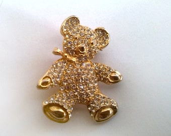 Elegant Golden Teddy Bear Brooch With Rhinestones And A Sweet Smile On His Face
