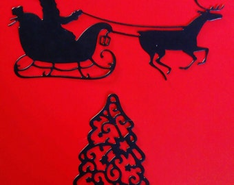 Ten Santa and Sleigh and Christmas Tree Die Cuts (five of each design)