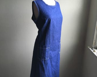 vintage 60s npc fashions warren pa blue indigo lightweight denim dark wash blue jean chambray sleeveless pull over day dress