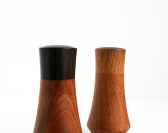 Vintage Teak Salt and Pepper Shaker Mid Century Danish Modern