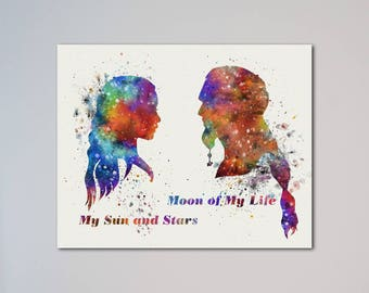 Daenerys and Khal Drogo Game of Thrones Poster Watercolor Print Valentine's Day Gift Love Romantic Gift Moon of My Life My Sun and Stars
