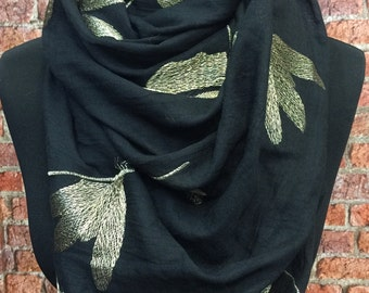 Hand Embroidered Scarf- BLACK - Dragonfly print