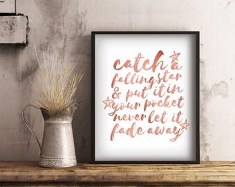 Printable Rose Gold Bedroom Decor, Catch a Falling Star Print, Modern Wall Art, Digital Download