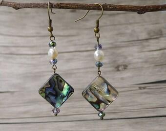 Abalone Shell Earrings BOHO Drop Earrings Fresh Water Pearl Earrings Abalone Earrings Shell bead earrings Dangle Earrings Abalone ED-017