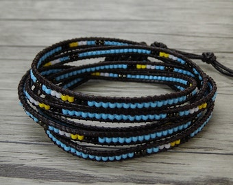 Leather Waps bracelet Beach Style Bracelet Blue beads Bracelet Tiny Seed beads Bracelet Boho Beads bracelet Women jewelry SL-0426
