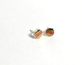Handmade Lightweight Black and Gold Red Swirl Upcycled Arizona Tea Can Nickel-Free Stud Earrings