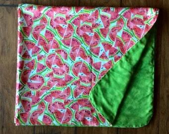 Watermelon Flannel Swaddle Blanket-Double Sided Flannel Receiving Blanket-Flannel Swaddle Blanket- Watermelon Blanket -Handmade
