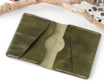 Green leather card wallet leather business card holder leather card holder travel accessories card holder wallet leather travel wallet green