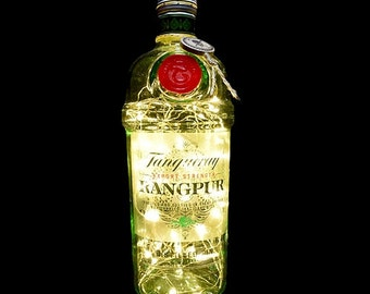 Tanqueray Rangpur Gin Upcycled LED Bottle Lamp Light by JayEngrave