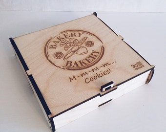 Custom sized box for cookies laser cut present gift with costom text logo