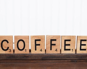 Rustic Wood Coffee Sign, Coffee bar, Scrabble letters, Large scrabble tiles, Kitchen decor