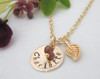 Rose Gold Tone Personalised Hand Stamped Name Necklace Birthstone Feather Charm UK Seller