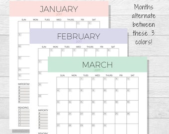 2017 Monthly Planner Printable - Monthly Calendar - Organizer - Month Schedule - 2017 Printable Calendar - Monthly Layout