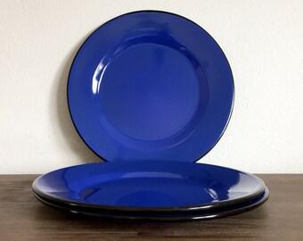 Vintage Enamel Plates; Blue Enamel Plate Set; Camping Plates; Blue Enamelware; Vintage Metal Plates