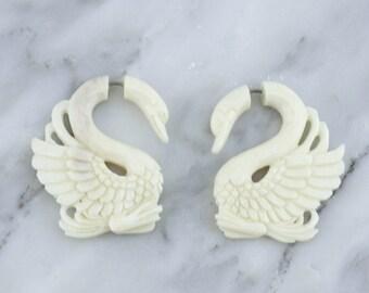 Swan Bone Hangers / Fake Gauges Earrings