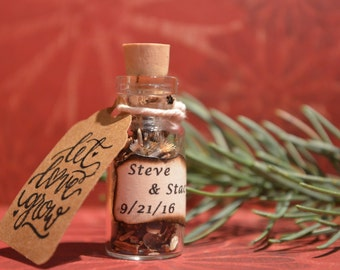 25 Wildflower seed wedding favor bottle customized.  Unique rustic wedding favor.