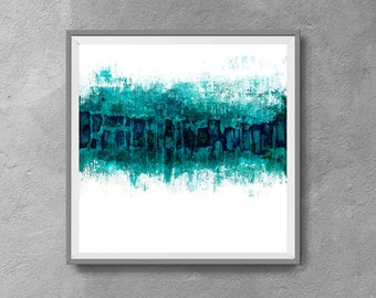 Large Art Print, Printable Art, Vintage Finish, Art Poster, Digital Download, Wall Decor,white and turquoise, modern abstract